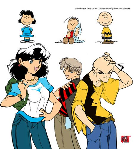 Lucy, Linus e Charlie Brown in versione manga
